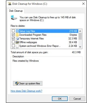 Limpieza de disco de Microsoft Windows